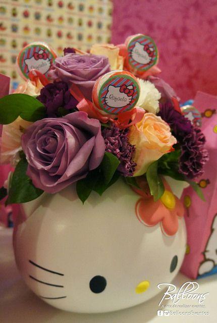 Hello Kitty birthday party - hello kitty vase with roses.