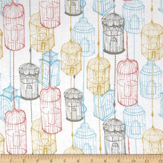 Cushion & Dust Birdcage White from @fabricdotcom  Designed by Sarah Watts for Blend Fabrics, this cotton print is perfect for quilting, apparel, crafts, and home decor items. Colors include split pea green, pewter, robins egg blue, and coral red on a white background.