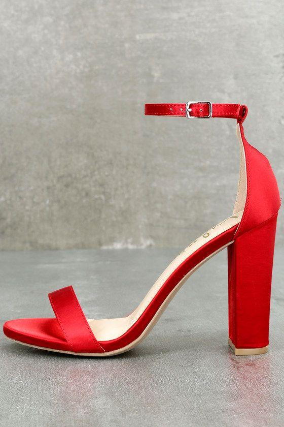 red satin sandals heels