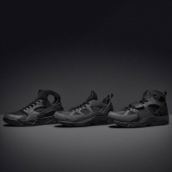 Launching from 8:00am tomorrow the Nike Air Huarache 'Blackout Pack'  featuring three military inspired all-black versions of the Air Trainer Huarache (in both OG and Low styles) and the Air Flight Huarache each with ballistic nylon uppers. Available at #jdsports.co.uk and in stores. by jdsportsofficial