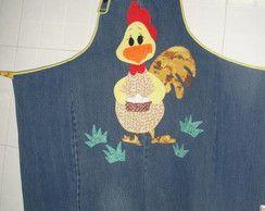 Avental jeans galinha