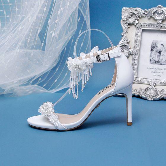Najpiekniejsze Ekskluzywne Kosc Sloniowa Slub Buty Slubne 2020 Frezowanie Kutas Perla Rhinestone Aplikacje 9 Cm Szpilki Peep Toe Na Obcasie Unique Wedding Shoes Wedding Shoes Stiletto Heels
