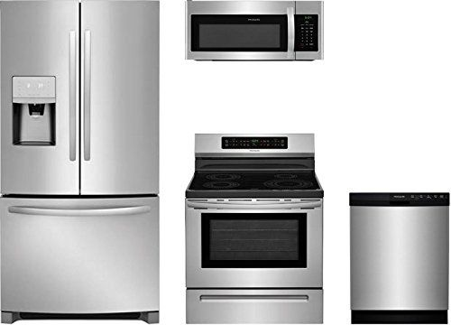 Frigidaire 4 Piece Kitchen Stainless Steel Package With Ffhb2750ts 30 French Door Refrige Over The Range Microwaves Range Microwave Kitchen Appliance Packages