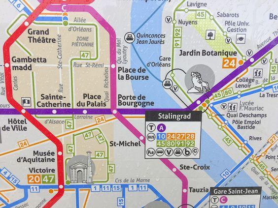 План-карта транспортной системы Бордо на остановке