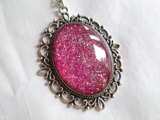 Sparkling Magenta Glitter Nail Polish Pendant Necklace: 30x40mm Glass Oval in Antique Silver Scroll Edge Setting
