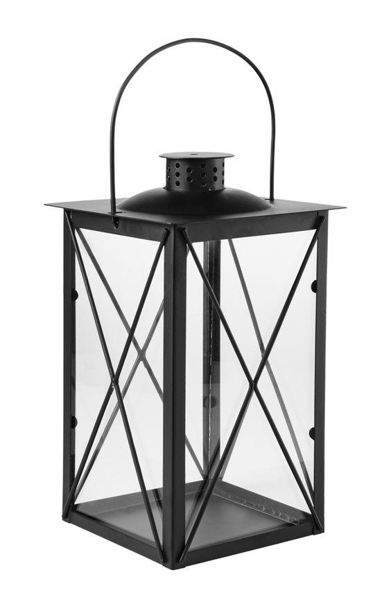 Metall-Laterne, 30 cm, schwarz