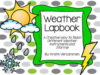 This weather lapbook has everything you will need to teach your students all about storms and different weather instruments!  It is easy to assemble and your students will love all of the different components    to help teach this exciting Science unit.The weather lapbook includes the following features:* Title page* 5 Day weather recording page* Weather Instrument examples (thermometer, rain gauge, and weather vane)* 5 Day temperature recording page* Storms notepage (thunderstorm…