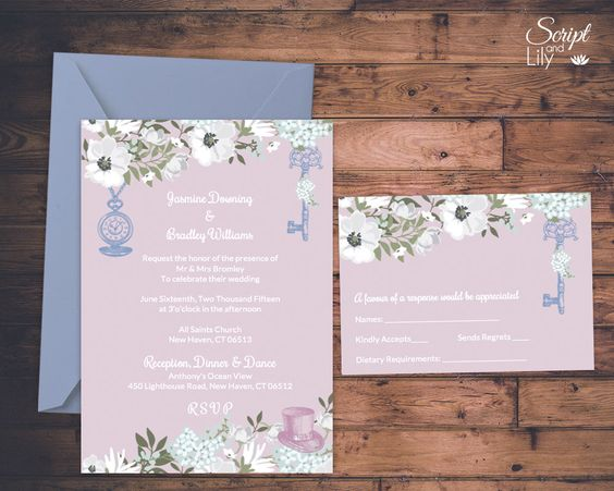 Alice in Wonderland Wedding Invitation Template – Wedding Invitations with Free Response Cards