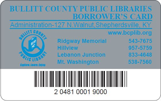 Library Card For Bullitt County Public Library Ky  Library