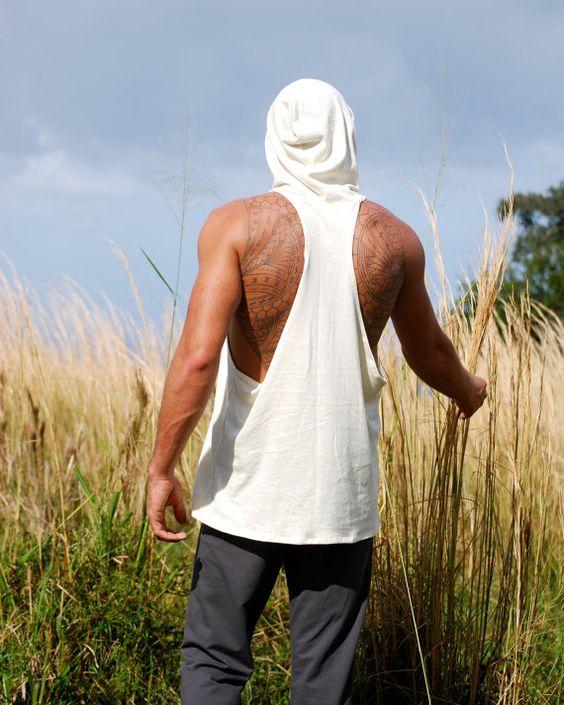 Men's Racerback Sleeveless Hoodie - Hemp Organic Cotton Jersey - Natural Color