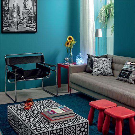 Sala de estar e de jantar: unidas, coloridas, descoladas - Casa: