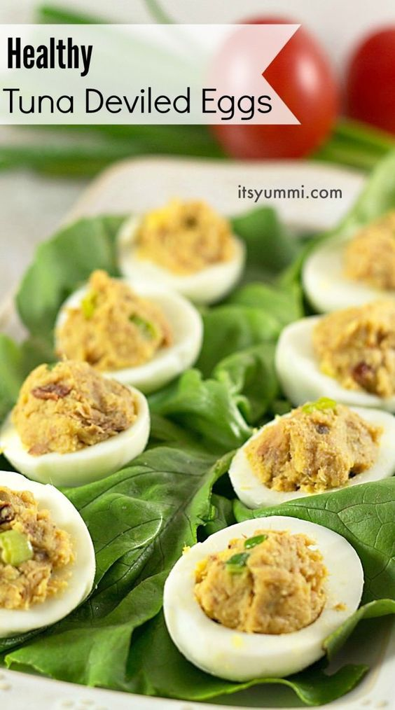 3 Easy Tuna Recipes, including this Healthy Tuna Deviled Eggs Recipe - This appetizer is packed with flavor from sundried tomatoes and olive oil instead of mayo. It's paleo and low in saturated fat!