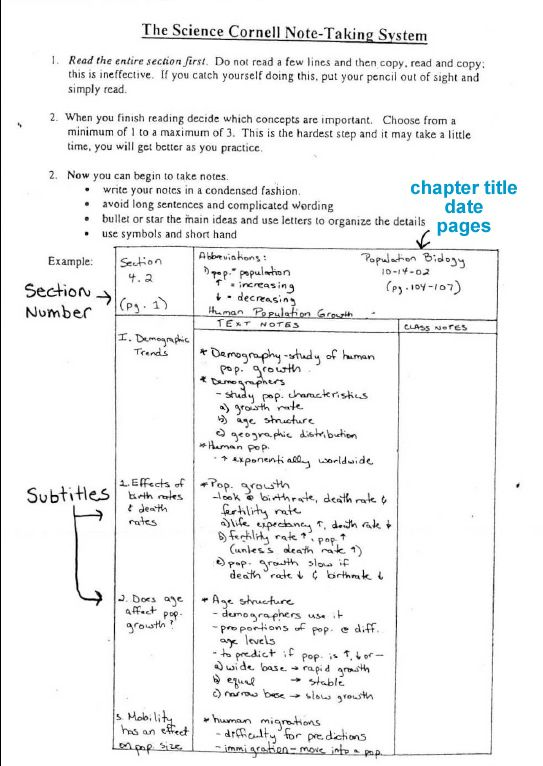 I need to find a sample paper of cornell note taking cover page.?