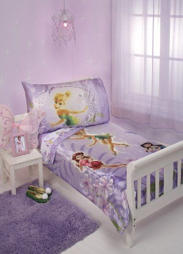 $44.99-$44.99 Baby Disney TinkerBell Garden Treasures 4pc. Toddler SetFly into fairytale land with this TinkerBell toddler bedding.  Four piece set fits standard 28x52 mattress.  Includes; Comforter, Top Sheet, Fitted Sheet, Reversible Pillowcase
