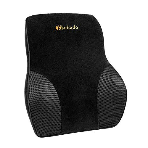 Kebado Premium Lumbar Pillow Full Back Lumbar Support Two Straps Office Chair Back Support For Car L Lumbar Support Cushion Black Office Chair Lumbar Pillow