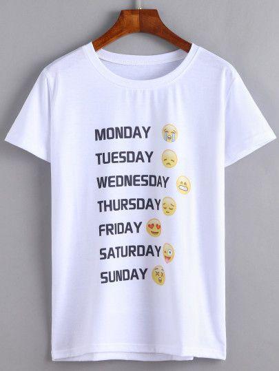 T-Shirt mit Emoji Druck - weiß