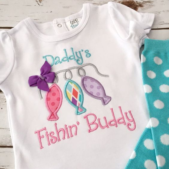 Daddy's Fishing Buddy Bodysuit & Leg Warmers - Gift for Dad - Gender Reveal Idea - Baby Girl Clothes - Baby Shower Gift for Girl