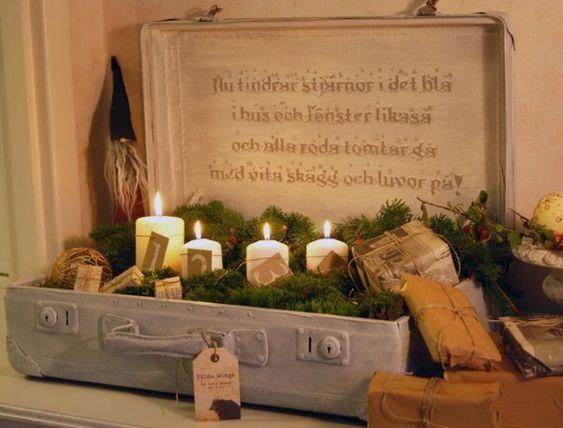 Vintage koffer weihnachtsdekoration