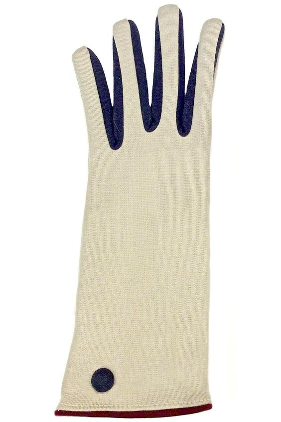 Color Block Knit Gloves in colors beige, navy and wine with wine trim at wrist and on thumb finger. These are so stylish and really stand out when worn with any outerwear. These gloves fit your hands like second skin.   Colorblock Knit Gloves by Santacana Madrid. Accessories - Winter Accessories Portland, Oregon
