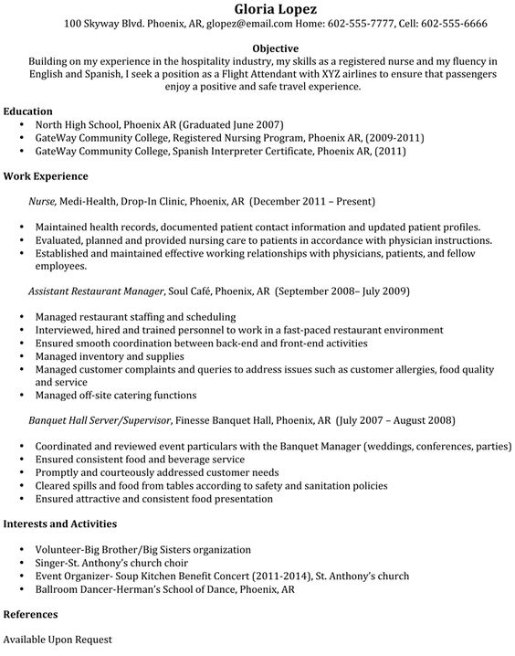 What kind of information is featured on the ideal flight attendant - sample flight attendant resume