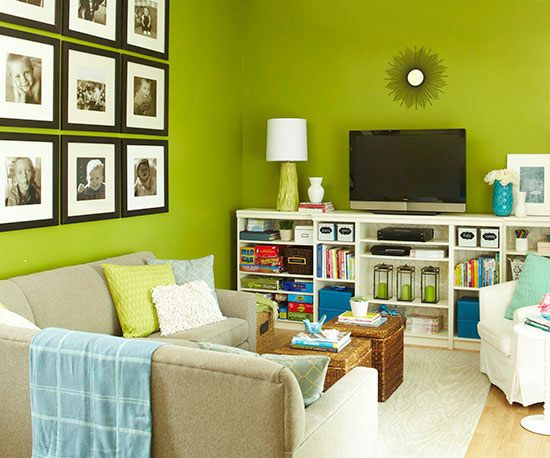 Tips for an organized home pictures built ins and collage for Living room organization