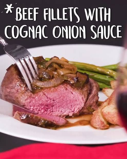 Beef Fillets With Cognac Onion Sauce Recipe Beef Fillet Beef Steak Recipes Onion Sauce