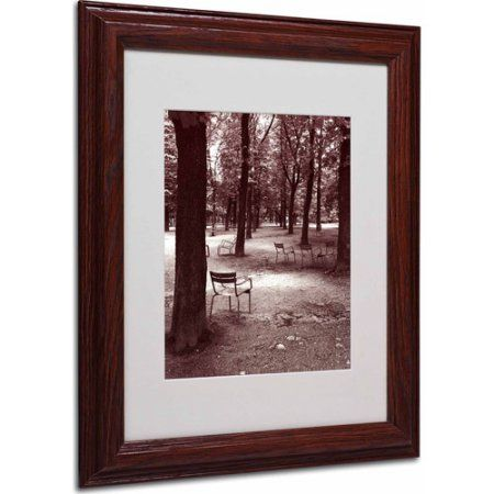 Trademark Fine Art Jardin du Luxembourg Chairs Matted Framed Art by Kathy Yates, Wood Frame, Size: 11 x 14, Multicolor