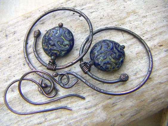 Copper Hoops with Blue Floral Paisley Brocade Coin by annamei, $33.00