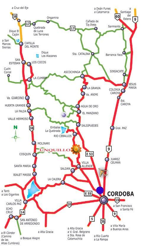 Rutas Del Noroeste De Cordoba Mapa Turistico Mapa De Argentina