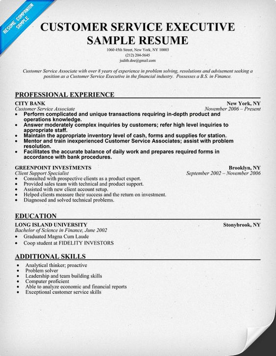 Customer Service Executive Resume Sample (resumecompanion - customer service example resume