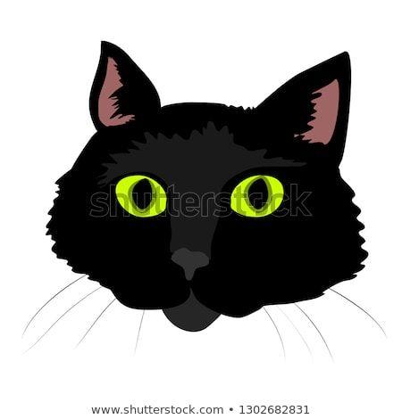 Cartoon Black Cat Face Cute Cat Vector Art Feline Cat Face