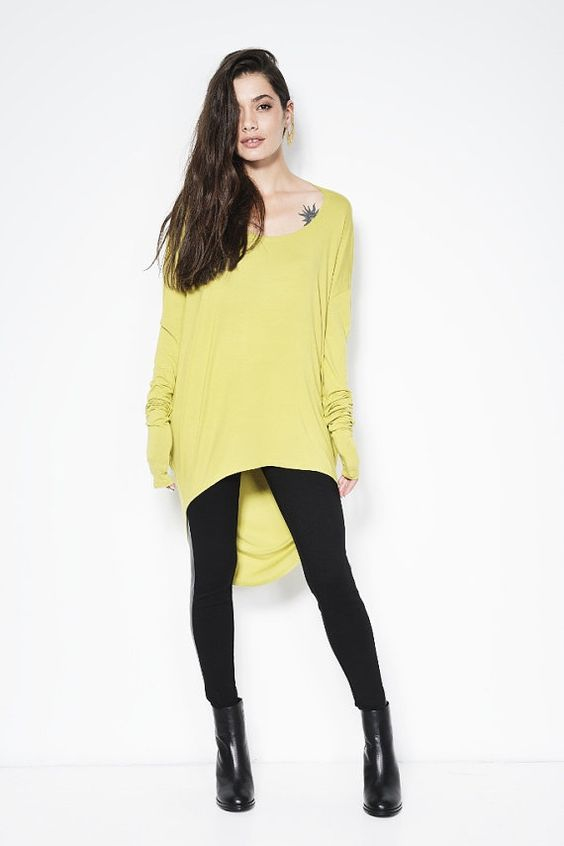 Yellow Mustard Tunic with Cowl Back / Loose Top / by marcellamoda