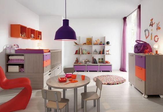 Limba babyzimmer design komplett bunt lila orange eichenholz