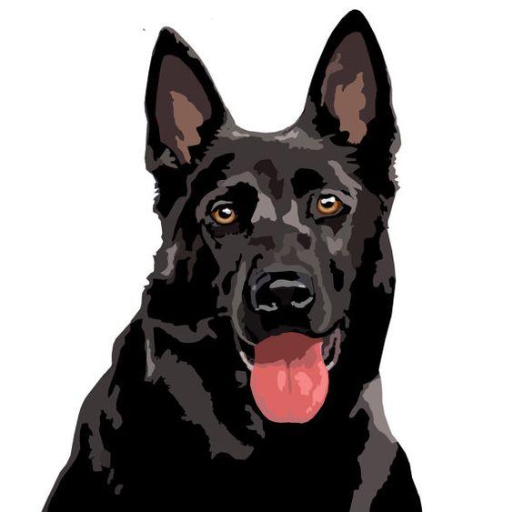 Black German Shepherd dog decal stickerset of 2 by watch4dogz