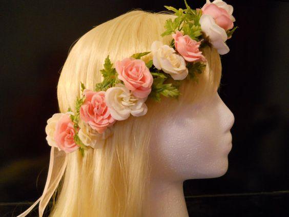 Flower Crown, Head Wreath, Pink, White, Rose, Wedding, Flower Girl, First Communion, Bridal, Mori Girl, Tiara, Kawaii Fairy Lolita Baby Doll