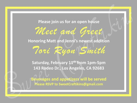 Yellow & Grey Diy Meet And Greet Or Sip And See Party Invitations