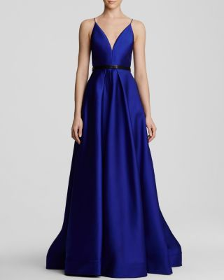 ML Monique Lhuillier Gown - V-Neck Spaghetti Strap Faille | Bloomingdale's
