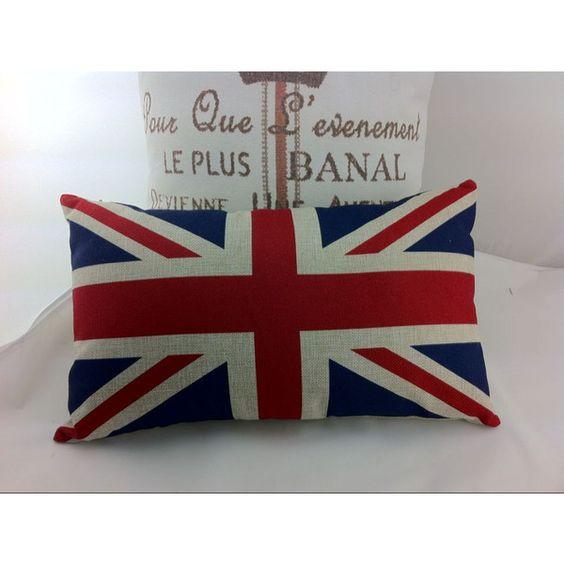 England Flag Burlap Pillow Case ($12) ❤ liked on Polyvore featuring home, home decor, throw pillows, decorative pillows, grey, home & living, home décor, patterned throw pillows, grey home decor and burlap home decor