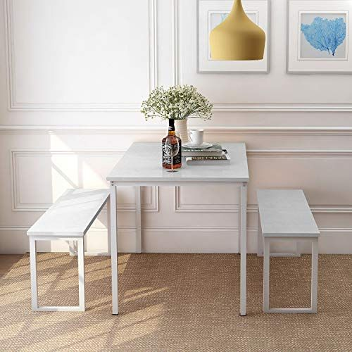 Rhomtree 3 Pieces Dining Set Table With 2 Benches Kitchen Dining