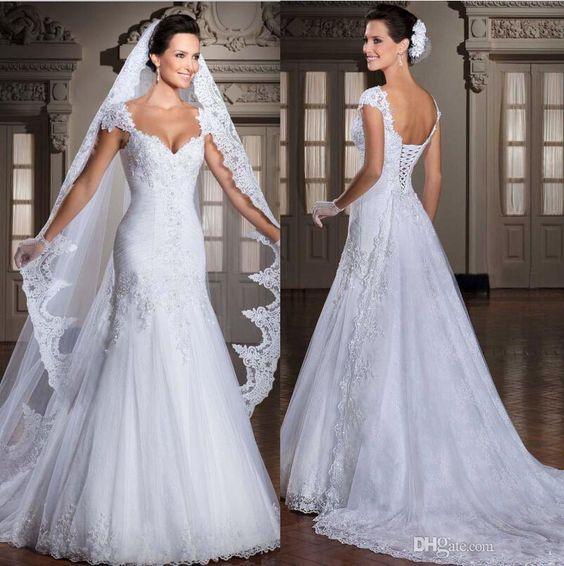New Arrival 2016 Vestidos De Noiva Tulle/Applique Beaded Wedding Dresses Bridal Gowns Detachable Train Detachable Modest Wedding Gowns Off The Rack Wedding Dresses From Nabazbusiness, $116.79| Dhgate.Com
