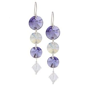 @Overstock - These stylish earrings feature purple and white Swarovski crystals. These earrings hang from hook findings and shine with a highly polished finish.http://www.overstock.com/Main-Street-Revolution/MS-DJ-Casanova-Purple-and-White-Crystal-Earrings/6330994/product.html?CID=214117 $22.99