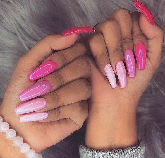 Trendy Summer Long Ombre Coffin Nails Coffin Nails Ombre Nails