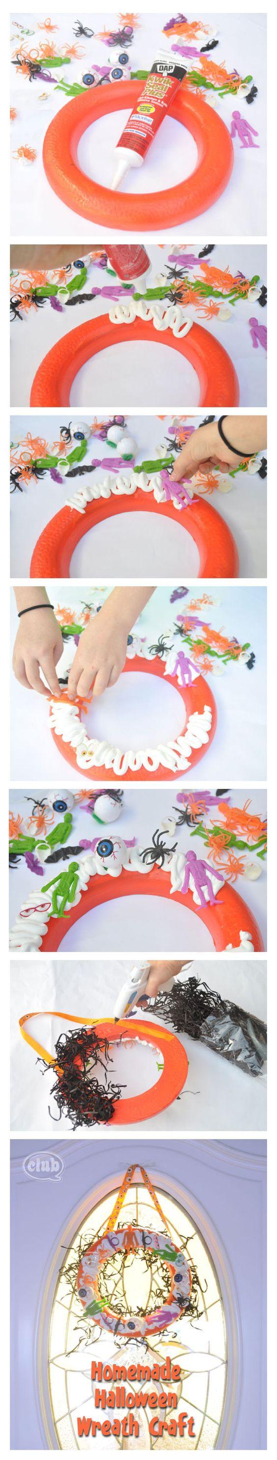 Homemade Halloween Wreath Craft - using Kitchen and Bath sealant ...