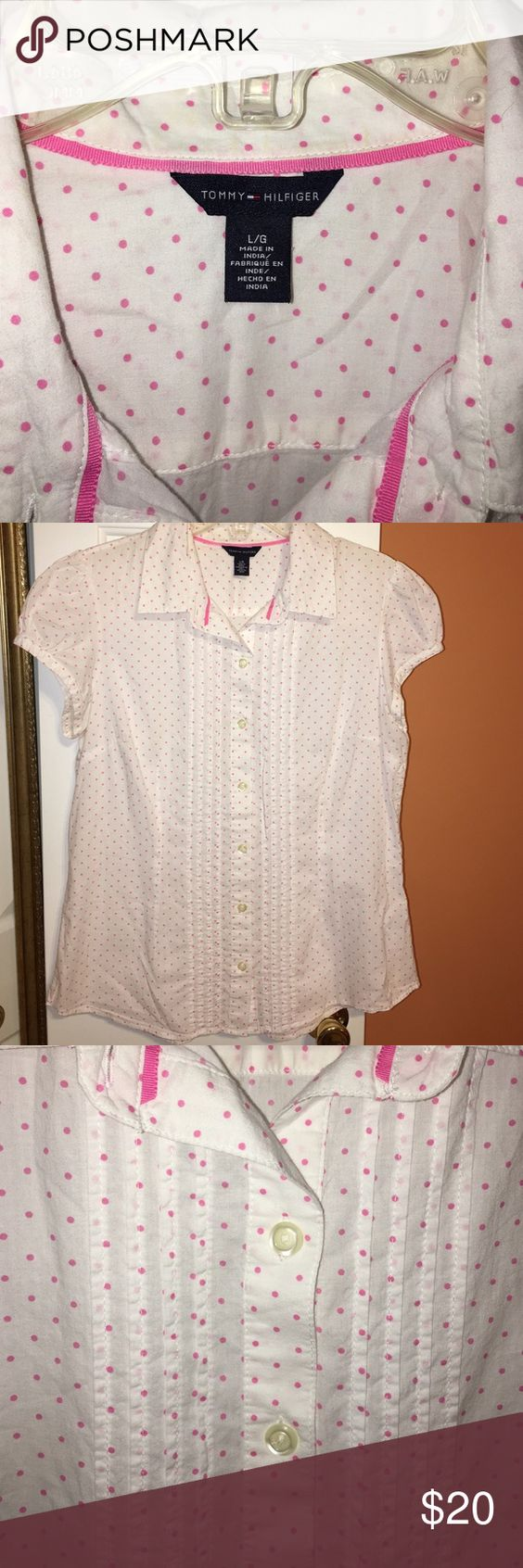 Button down light cotton blouse White with pink polka dots button down and pleats on the front. Capped sleeves- EXCELLENT CONDITION Tommy Hilfiger Tops Button Down Shirts