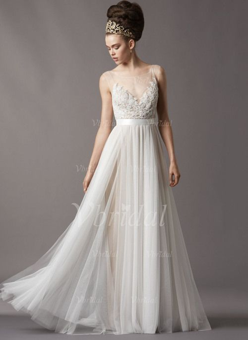 Wedding Dresses - $168.99 - A-Line/Princess Scoop Neck Sweep Train Tulle Wedding Dress With Lace Beading Sequins (00205003303)