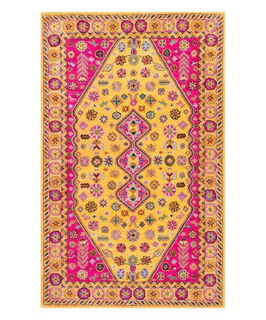 Look what I found on #zulily! Goldenrod Abstract Floral Pamila Wool Rug #zulilyfinds