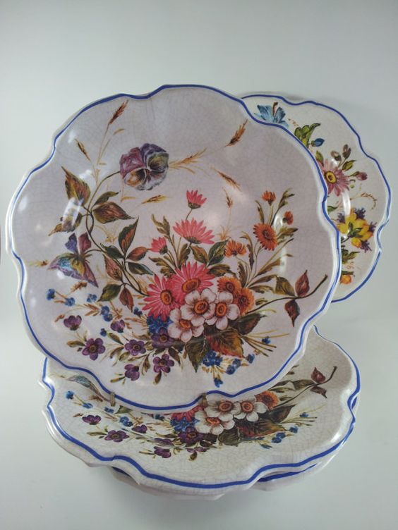 Lami italy depose floral plates wall decor melmac by for Wall decor dishes