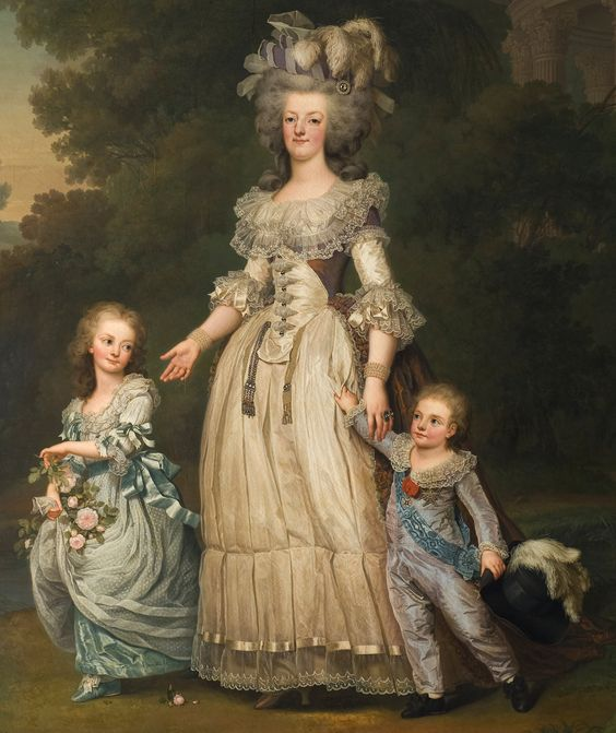 Marie Antoinette with her children By Adolf Ulrik Wertmüller Date	circa 1785-1786 https://upload.wikimedia.org/wikipedia/commons/b/b2/Adolf_Ulrik_Wertm%C3%BCller_-_Queen_Marie_Antoinette_of_France_and_two_of_her_Children_Walking_in_The_Park_of_Trianon_-_Google_Art_Project.jpg