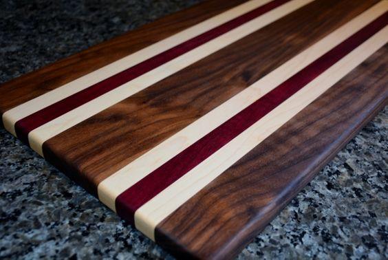 Walnut, Maple, and Purpleheart Cutting Board