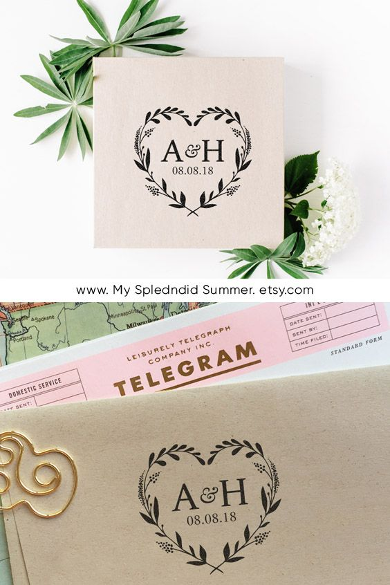 Custom Wedding Stamp Heart Wreath Monogram Stamp Save The Date